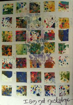 """Page from first art journal. """"Inchies"""" made by sprinkling watercolor crayon shavings onto a piece of drawing paper and then spraying them with water. After drying, I cut the page into one inch pieces and mixed them up. Then I pasted them. This is the left side of a two page entry."""