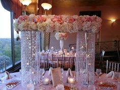 on cake table Blush Centerpiece, Chandelier Centerpiece, Tall Wedding Centerpieces, Wedding Reception Decorations, Flower Centerpieces, Flower Arrangements, Wedding Ideas, Dollar Tree Wedding, Event Decor