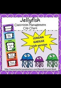 Classroom Management Clip Chart (IN IRISH, AS GAEILGE) - J Irish Language, Primary School, Kid Names, Jellyfish, Classroom Management, Teaching Resources, Charts, Writing, Words