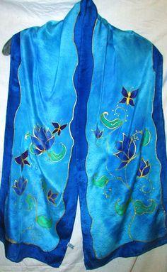 Blue silk scarf Blue Lotus scarf silk scarf by HeavenOnEarthSilks