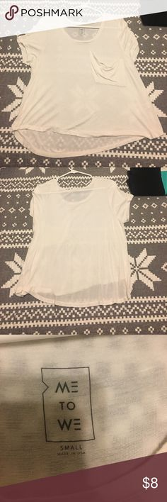 Loose cream shirt Never worn, no tears, no stains kinda a see through material but very soft! The front pocket was bought like that, I think it was just a design idea. Got it from pacsun. Smoke/pet free home and don't forget to bundle and save!!! PacSun Tops Tees - Short Sleeve