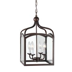 Combine traditional beauty with modern convenience in this Ashley Bronze 4-light foyer hanging lantern. This gorgeous fixture features 4 lights and a Bronze finish.