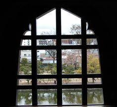 Ancient Japanese window at Matsumoto Castle