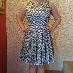 Maison Jules diamond print dress. Super cute never been worn. Didn't like fit on me but is very cute. Flowy skirt, lots of movement! Maison Jules Dresses Midi