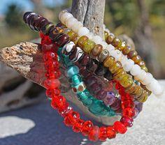 Oasis Gold Bracelet Handmade Glass Lampwork beads - Jenelle Aubade