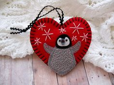 Baby Penguin Ornament in Holiday Red by SandhraLee on Etsy