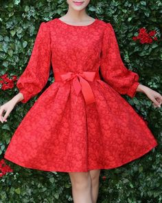 Retro Round Neck Lantern Sleeve Red Flower Pattern Self Tie Belt Dress For Women