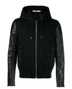 GIVENCHY Leather Wool-Blend Hoodie Jacket. #givenchy #cloth #