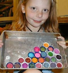 Here's a recipe to make your own watercolor paints.  These vivid, non-toxic paints can be used wet or allowed to dry and used like regular watercolor paints.  We had great fun making and using them!    Materials:    3 Tbs. baking soda  3 Tbs. corn starch  3 Tbs. white vinegar  1-1/2 tsp. light corn syrup  food coloring    Steps:    1. Mix vinegar, baking soda, corn starch and corn syrup together in a small bowl.    2. Divide the mixture into several small plastic tubs or jar lids.    3. Add…