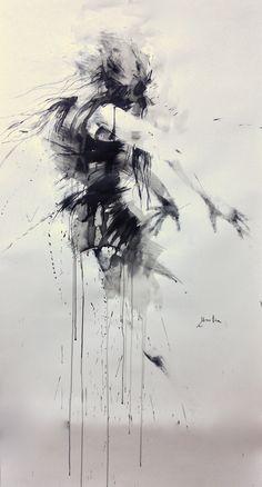 ewa hauton ink on paper 150x90cm http://ewahauton.wix.com/peinture