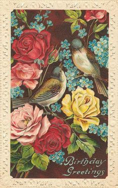 Vintage Birthday Postcard with Birds and Roses
