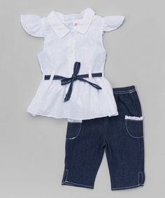 Look what I found on #zulily! White Tunic & Denim Capri Pants - Infant & Toddler #zulilyfinds