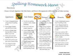 Spelling Homework Menu#Repin By:Pinterest++ for iPad#