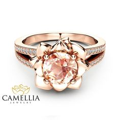 """Morganite Flower Engagement Ring Rose Gold Flower Engagement Ring Peach Pink Morganite Diamond Ring - Camellia Jewelry - For That """"Yes"""" Moment Rose Gold Jewelry, Jewelry Rings, Vintage Rose Gold Rings, Jewellery Box, Pink Diamond Jewelry, Quartz Jewelry, Silver Rings, Vintage Engagement Rings, Diamond Engagement Rings"""