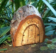 wood burned fairy door
