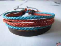 Real Leather and Multicolour Hemp Rope Cuff by sevenvsxiao on Etsy, $4.00
