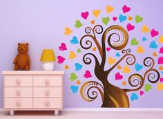 Arbre de coeurs de couleurs pour chambre de fille, Vinyle détachable.72H x 72 Large Art mural G14011  Colorful heart tree wall decals, Branches, for girl bedroom, Removable vinyl. 72H X 72W