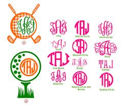 Golf Monogram Decal 6 by ChicHippoDesigns on Etsy