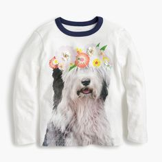 From our top-secret graphics lab to her closet, a tee featuring an adorable shaggy dog with a photo filter-inspired flower crown, courtesy of the creative minds of our crewcuts designers. Cotton. Machine wash. Import. Sizes 2 and 3 feature glitter instead of sequins.
