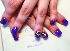#purplenails #aztecnailart #sugarnspicesalon #nailsbykristacallaghan #acrylicnails #gelish #nailart #polkadots #amazingnailart #funnails
