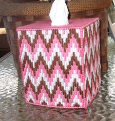 Raspberry, Medium, and White Bargello Tissue Box Cover by TissueMart on Etsy Plastic Canvas Tissue Boxes, Plastic Canvas Crafts, Plastic Canvas Patterns, Kleenex Box, Angel Crafts, Sunflower Pattern, Canvas Designs, Bargello, Tissue Box Covers