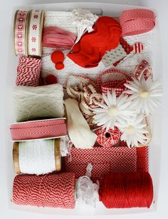 Love this assortment of Red and white.  I think I need to start using baker's twine in more of my activities.
