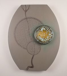 Danielle Embry- Corona brooch and wall mount. Copper, sterling silver, wood, paint, plaster, image transfer 2010