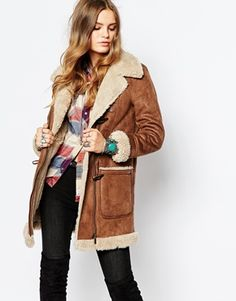 Pepe Jeans Vintage Look Shearling Coat