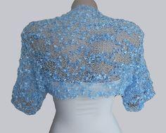 Knit Blue  Bolero Wedding Bolero Shrug Sleeves Jacket by MilenaCh, $50.00