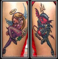 angel and devil pinup girl tattos - Bing Images I don't like the way the faces are I want them more like cartoony and sexier