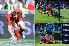 Wales v. Italy, Six Nations 2015: George North scores three tries within ten minutes.