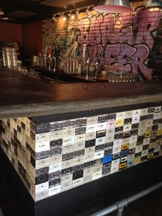 Cool bar in Coconut Grove Miami Graffiti and Cassette tape walls