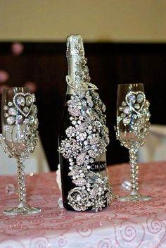 Bling bottle & glasses