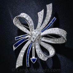 'Fougeray' Art Deco Diamond and Sapphire Brooch