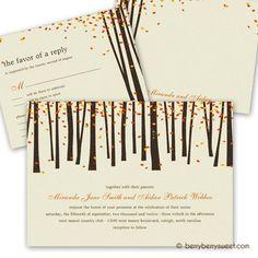 Forest Trees Wedding Invitation - Orange - from Zazzle.com