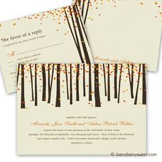 Forest Trees Wedding RSVP cards - Orange - Invitations from Zazzle.com