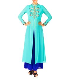 #Peacock #Blue Embroidered Faux #Georgette #Kurta Set by #Aircastle at #Indianroots