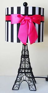 ON SALE ROYAL PARIS EIFFEL TOWER MOULIN ROUGE HOT PINK RIBBON TABLE ACCENT LAMP