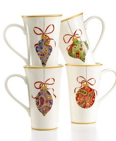 222 Fifth Dinnerware, Set of 4 Paisley Ornaments Latte Mugs Christmas China, Christmas Dishes, Christmas Tablescapes, Elegant Christmas, Christmas Mugs, Christmas Ornaments, 222 Fifth Dinnerware, China Dinnerware, Christmas Dinnerware