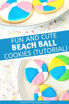 Check out this beach ball cookie tutorial, teaching you how to make beach ball cookies, how to decorate beach ball cookies, and how to use royal icing to decorate these beach ball sugar cookies. Don't miss these summer cookies that are great cookies to make with kids. Cookie Recipes For Kids, Best Cookie Recipes, Dessert Recipes, Desserts, Colorful Cookies Recipe, Cookie Tutorials, Summer Cookies, Beach Ball, Royal Icing Cookies