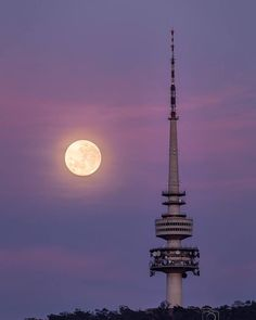 """""""When is too much supermoon never enough? When you get up at 5am to watch the moon transition behind Telstra Tower."""" We love this photo Instagrammer @glenn_photographer captured earlier in the week of the supermoon phenomenon over Canberra. #visitcanberra #onegoodthingafteranother"""