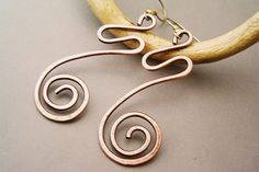 Wire Wrapped Earrings old-looking Copper  - Handmade Copper Earrings - wire wrapped Earrings handmade by GearsFactory on Etsy