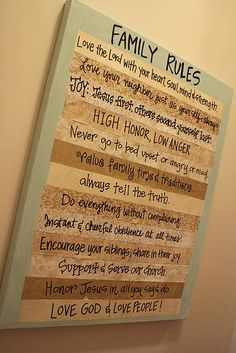 Family Rules board - I would change it up a bit, but love the idea.