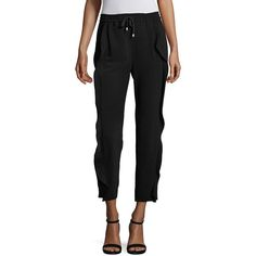 Sonia by Sonia Rykiel Ruffle Crepe Jogger Pants ($300) ❤ liked on Polyvore featuring pants, apparel & accessories, black, pull on pants, jogger pants, jogger trousers, crepe pants and frilly pants