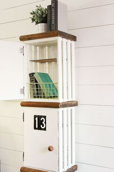 Build your own DIY lockers out of crates! http://www.littlehouseoffour.com