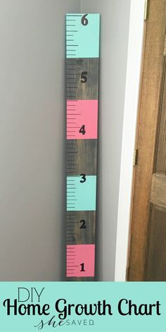 Here's a fun DIY project that you will enjoy for years to come! Make your own Home Growth Chart to track your littles as they grow and grow from She Saved.