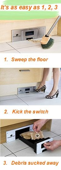 Ditch the dustpan! Easily clean up any of your pesky floor messes with this incredibly convenient Sweepovac! Plus, our price is $60 cheaper than most other retailers! http://www.woodworkerexpress.com/Sweepovac-Undercabinet-Kitchen-Vacuum-System.html #vacuum #convenience #useful