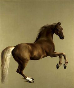 Stubbs - Whistlejacket  National Gallery - London  Animal day today, this very accurate painting is said to be the 1st time people would think it was a real horse ready to come off the canvas and running in the room. The depiction of the hair (sorry language limitation here) and how it catches the light is amazing. Stubbs successes in making the breath of the horse and the stables smells almost perceptibles. Whistlejacket pose proved a complex issue during the painting.