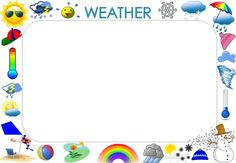 This weather theme picture frame is an excerpt from 'HOW IS THE WEATHER?' by Jeanette Vuuren to be copied on an laminated and used as word chart on your wall! Theme Pictures, Teacher Resources, A Table, Literacy, Picture Frames, Weather, Chart, Teaching, Portrait Frames