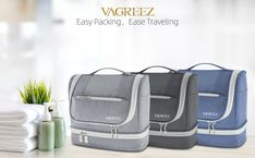 Toiletry Bag, VAGREEZ Upgraded Hanging Travel Toiletry Organizer Kit with Heavy-duty Zippers Waterproof Comestic Bag Dop Kit for Men or Women (Light-Grey) Shower Rod, Dopp Kit, Travel Toiletries, Toiletry Bag, Business Travel, Zippers, Amazon, Grey, Bags